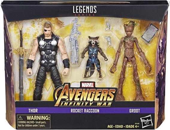 Marvel Legends 3 Pack Avengers Thor Rocket Raccoon Groot