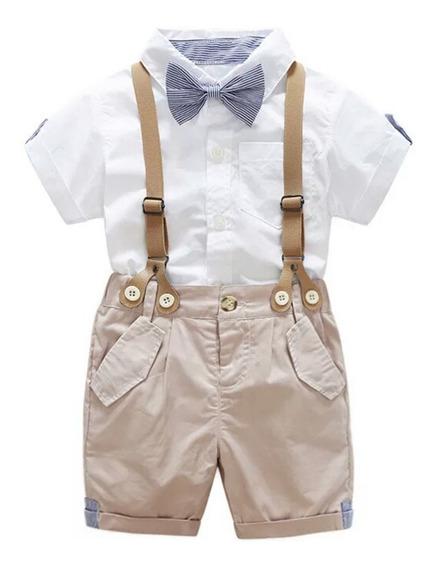 Conjunto Festa Batizado Bebê 4 Peças Camisa Bermuda Gravata