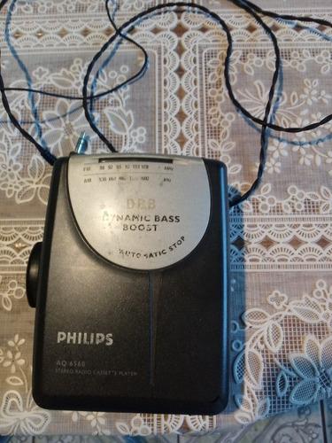 Walkman K7 Philips Dynamic C/ Fone+fonte Luz+pilha. Frete Gr