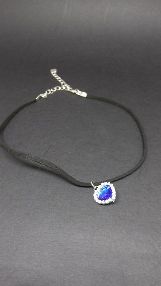 Colar Feminino Cristal Azul Safira Coração Zircônias C415
