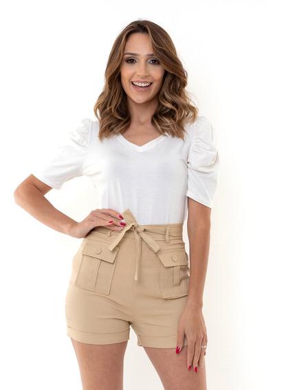 Shorts Kinara Sarja Cintura Alta Com Faixa Bege