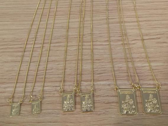 Escapulários Folheados A Ouro 18k.kit C/ Três,tam/variados.