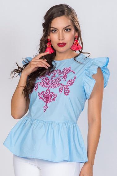 Blusas Camisas Dama Azul Bordadas Floreadas Moda N81205