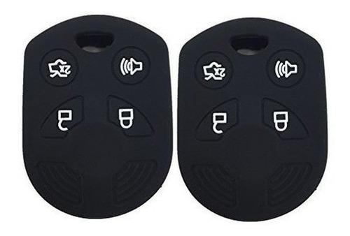 Ezzy Auto Un Par Negro 4 Botones Funda De Goma De Silicona L
