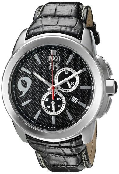 Reloj Jivago Gliese Cuero Negro Mineral 100m Hombre Jv1517
