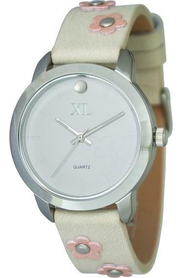 Reloj Xl Extra Large Moda Cuero Dama Xl566 Beige Rosa