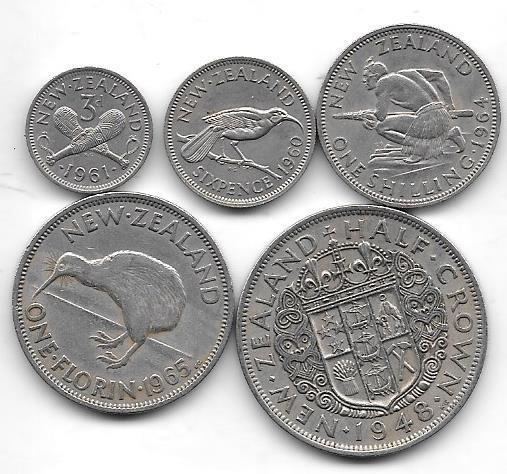 Serie De 5 Monedas Nueva Zelanda Año 1948 A 1965 Muy Buena