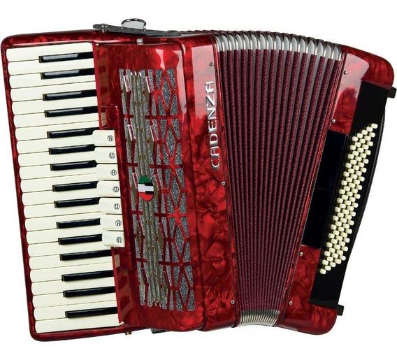 Acordeon Cadenza 80 Baixos 37 Teclas - Vermelho