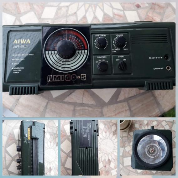 Rádio Portátil Aiwa Anos 80! Rádio/sirene E Lanterna Dínamo