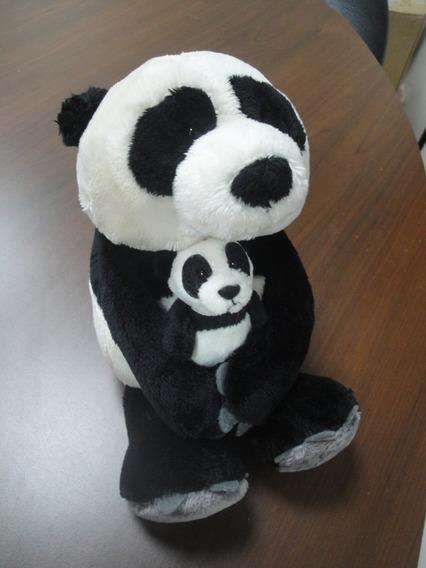 Pelucia Panda Mae 25 Cm + Filho 8 Cm Importado Nici Alemanha