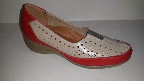 Zapato Pie Delicado Beige Con Rojo
