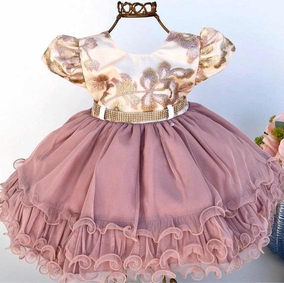 Vestido Para Bebê Festa Casamento Rose Com Dourado P Ao G