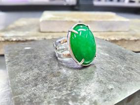 Anel Anatômico Prata 950 Com Jade Amazonita Natural.