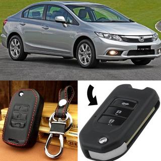 Acessórios Honda Civic Case De Couro Chave Canivete Honda City Fit Hrv Crv Wrv Mais Proteção E Requinte Para Sua Chave