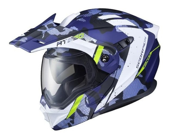 Casco Doble Proposito Scorpion Exo At950 Outrigger Azul