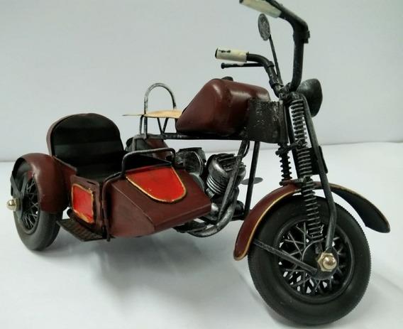 Miniatura Moto Antiga Vintage Metal Decoração Com Side