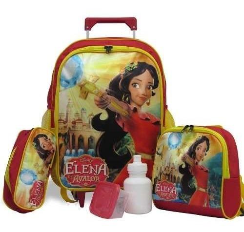 Kit Escolar Infantil Mochila De Rodinhas Elena De Avalor