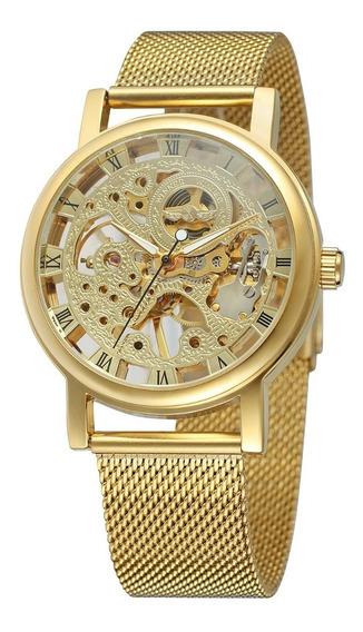 Reloj Hombre T-winner Mecanico De Cuerda Skeleton Acero 09