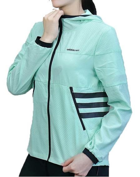 Jaqueta Corta Vento adidas Feminina Verde Água