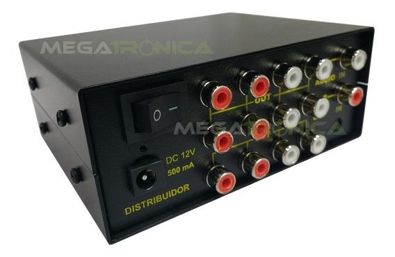 Splitter Distribuidor Audio Rca Stereo 1x6 Salidas C/fuente