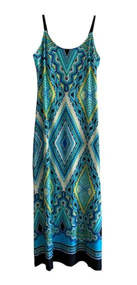 Vestido Mujer Largo Estampado Geometrico