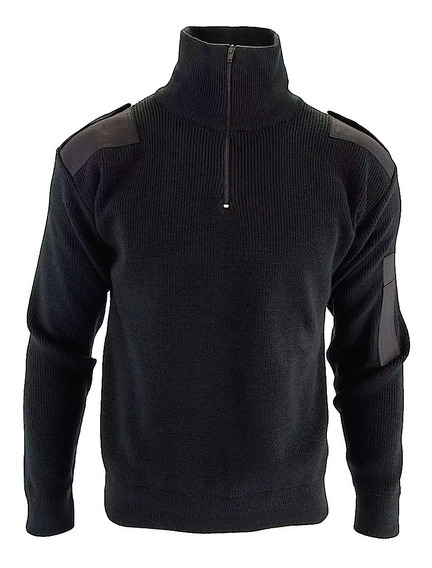 Tricota Policial Cuello Alto Negro Talles Xxs Al Xxxl