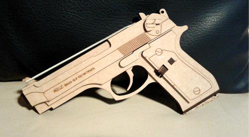 Pistola Para Banditas De Caucho En Mdf