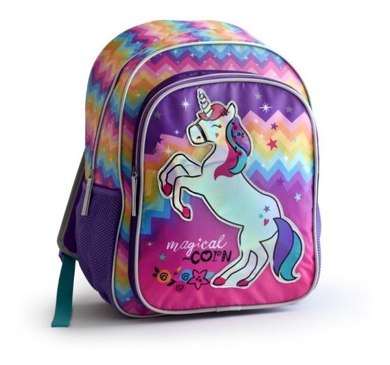 Mochila Espalda Unicornio Con Luz Y Aplique Holografico 17