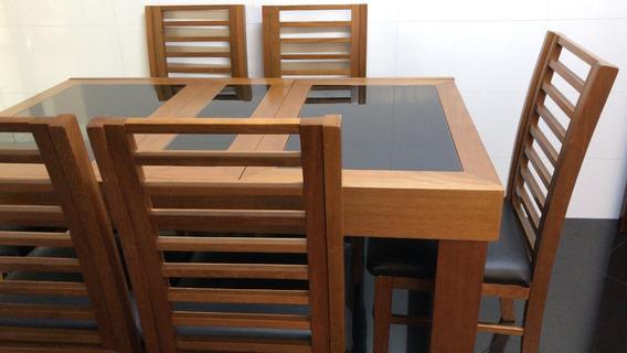 Mesa De Jantar Cozinha Expansiva 6 Cadeiras Perfeito Estado