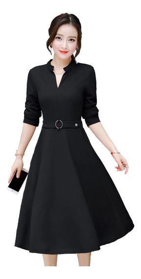 Vestido Medi Falda Medio Circular De Manga Larga For R35293