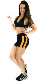 Kit 4 Short Liso Duas Faixas Suplex Fitness Academia