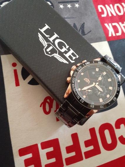 Relógio Lige Preto/bronze