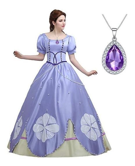Colar Amuleto Diamante Princesa Sofia Fantasia Folheado