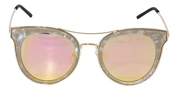 Óculos De Sol Feminino Lente Rosa Perolado Dourado