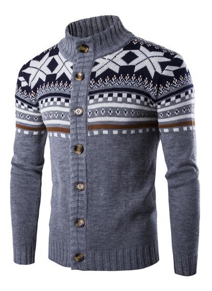 Copo De Nieve Navidad Punto Cardigan Suéter Para Hombres