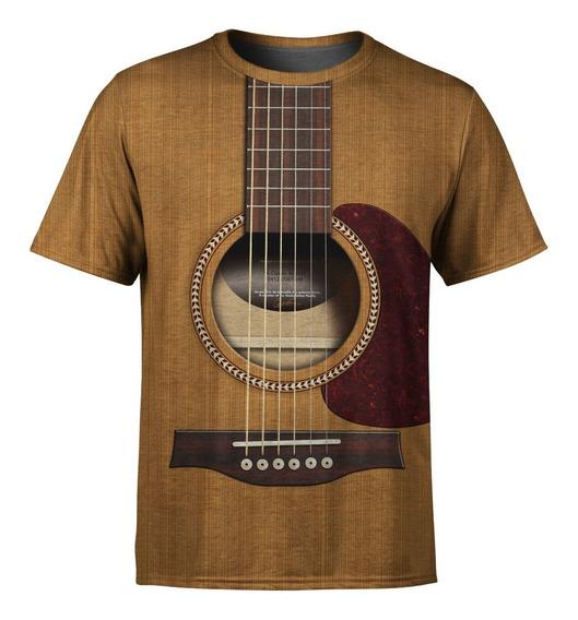 Camiseta Masculina Violão Viola Estampa Digital