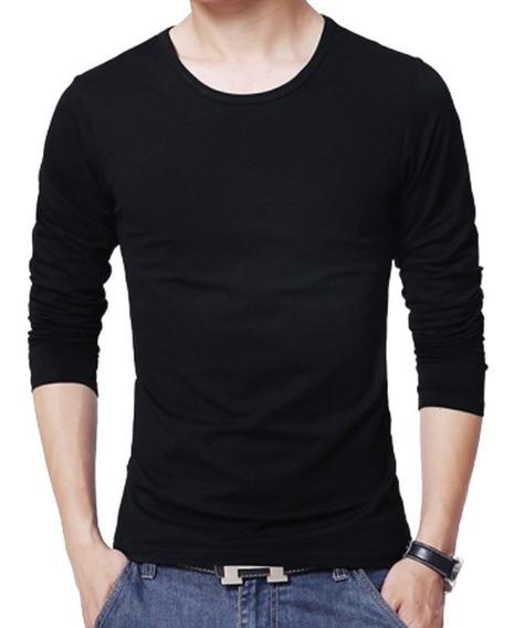 Camiseta Básica Manga Longa Blusa Masculina 100% Algodao
