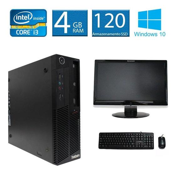 Computador Lenovo Thinkcenter M90 I3 4gb 120ssd Monitor 18 Polegadas