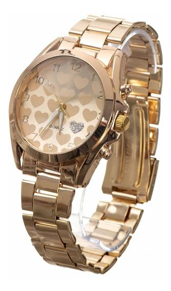 Relógio Feminino Dourado + Kit Brinde De Colar E Brinco Luxo