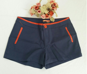 Shorts Feminino Algodão Detalhe Couro