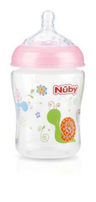 Mamadeira Nubby Natural Touch Rosa Bico Largo 270ml