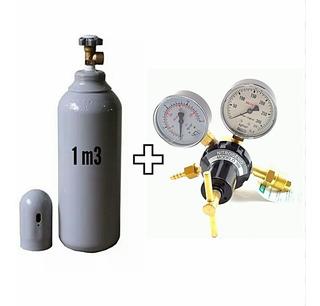 Cilindro De Nitrogênio 1,0m3 7 Lts + Regulador De Pressão