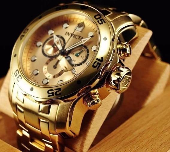 Invicta 0074 Pro Diver Dourado Ouro 18k Original Na Caixa
