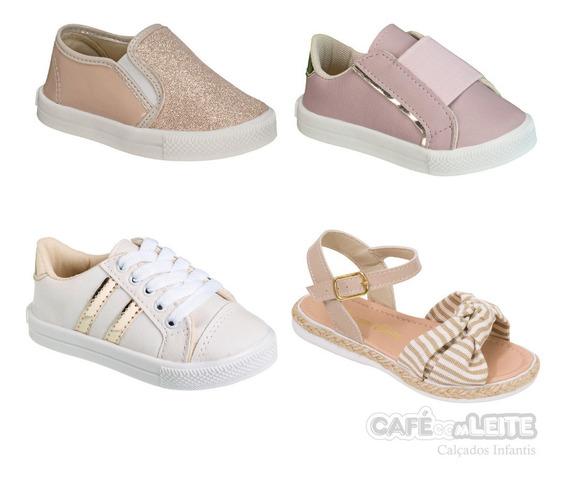 Sandálias+tênis Infantil Feminina (kit Com 4 Pares )