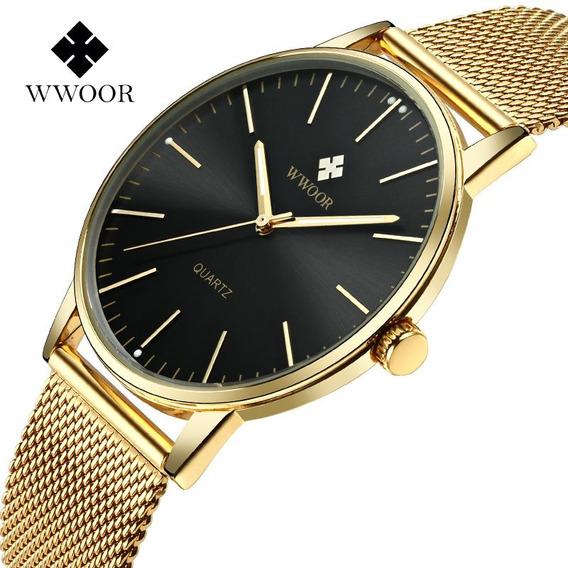 Wwoor Relógio Analógico Masculino Original Lazer