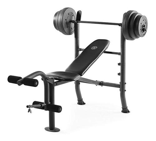 Banco Gold's Gym + Accesorios + Barra + 45 Kg Discos Pesas