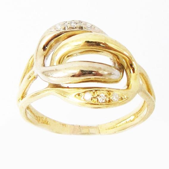 6054 Rojoias Anel De Ouro 18k Legítimo Com Diamantes