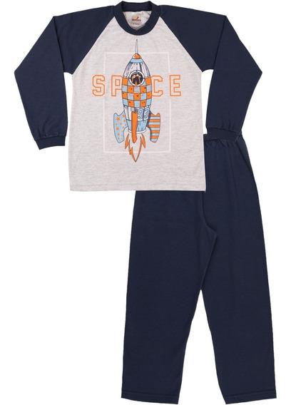 Pijama Infantil Menino Meia Malha Inverno Calça E Camiseta