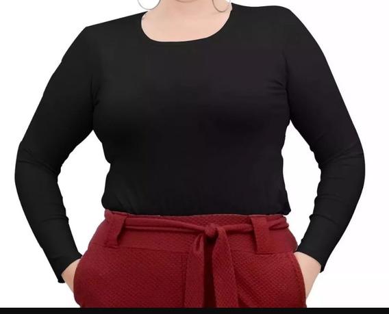 Blusa Segunda Pele Plus Size Gola Redonda
