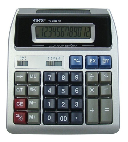 Calculadora Digital De Mesa 12 Dígitos Visor Duplo Yins